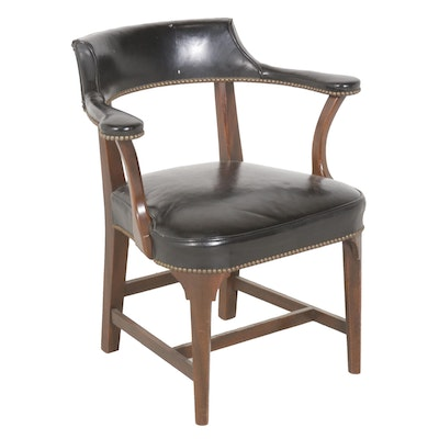 Nailhead Leather Upholstered Arm Chair, Mid to Late 20th Century