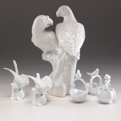 Paris Royal Porcelain Bird Themed Baskets and Other Ceramic Bird Figurines