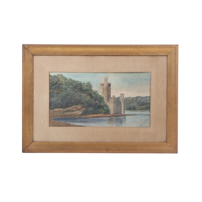 Early 20th Century Watercolor Painting of a Castle