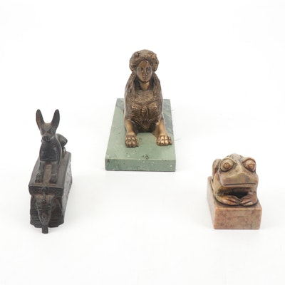 Chinese Carved Stone Stamp with Indian and Egyptian Figurines
