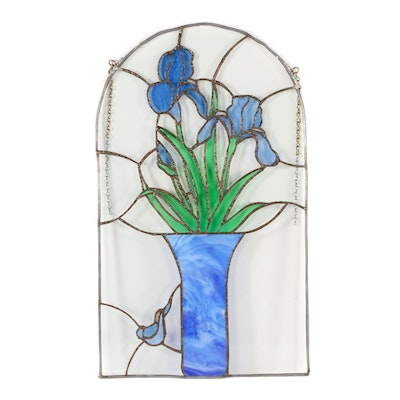 Stained Glass Hanging Panel with Irises