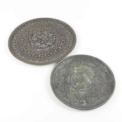 Persian Ghalam Zani Tin Plated Copper Decorative Trays