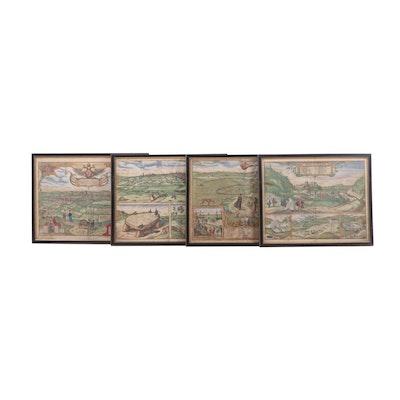 "Geo. Houfnaglius Colored Engravings from ""Civitates Orbis Terrarum"", ca. 1600"