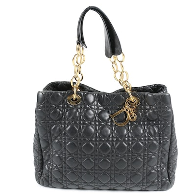 Christian Dior Paris Tote in Quilted Black Leather