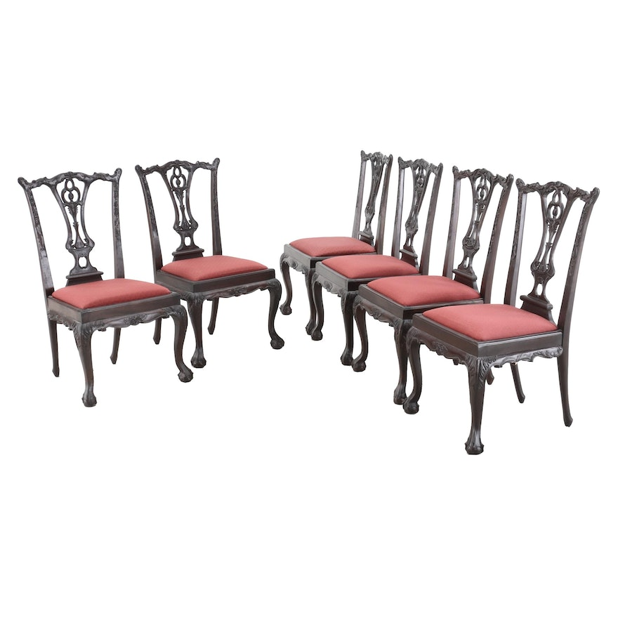 Chippendale Style Wooden Dining Chairs, Late 20th Century