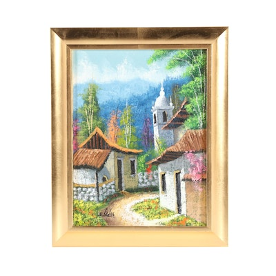 Village Scene Oil Painting
