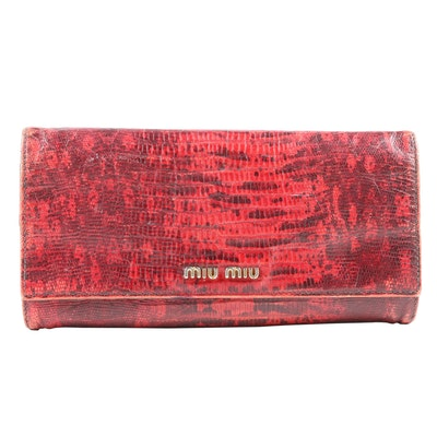 Miu Miu Continental Wallet in Red Lizard Print Leather