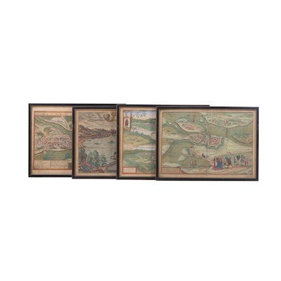 Geo. Houfnaglius Hand-Colored Engravings of European Cities, 16th to 17th Cent.