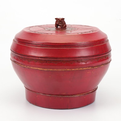 Chinese Red Lacquered Wooden Box