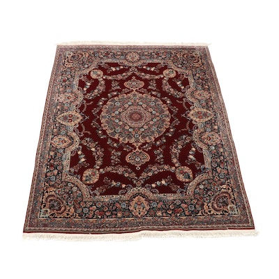 Hand-Knotted Chinese Floral Silk and Wool Rug