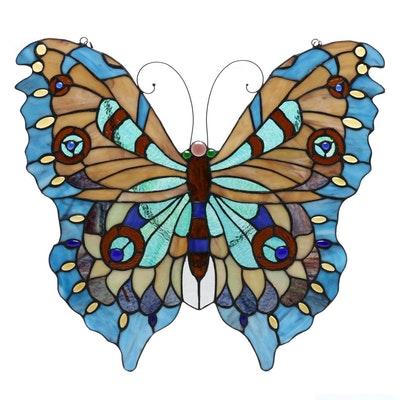 Stained Glass Butterfly Wall Hanging, Late 20th Century