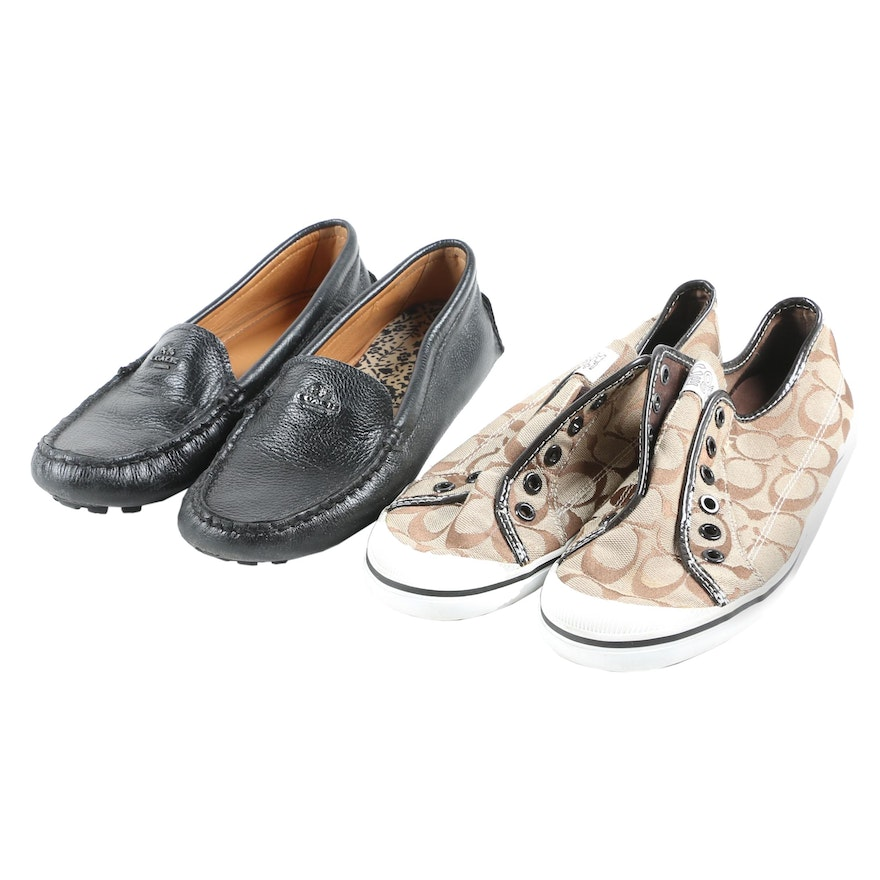 Coach Amber Leather Driving Loafers and Kira Monogram Sneakers