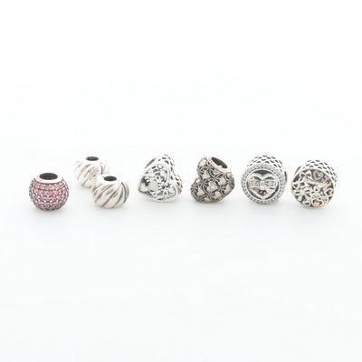 Seven Pandora Sterling Silver Cubic Zirconia Enamel Charm Beads