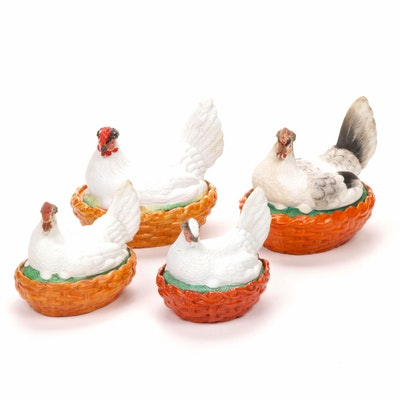 Staffordshire Style Porcelain Nesting Hen Lidded Dishes