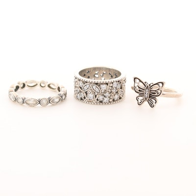 Three Pandora Sterling Silver Cubic Zirconia Rings