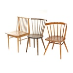 Mid Century Modern Wooden Spindle Back Side Chairs with Chair After Paul McCobb