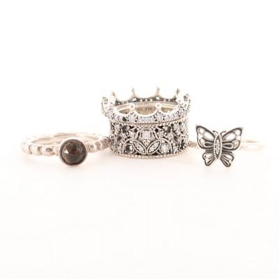 Four Pandora Sterling Silver Smoky Quartz and Cubic Zirconia Rings