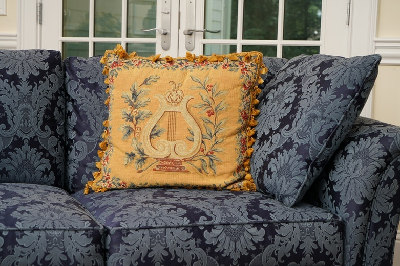 Kindel Blue Damask Upholstered Sofa Ebth