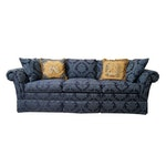 Kindel Blue Damask Upholstered Sofa