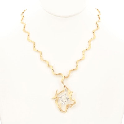 Vintage 14K Yellow Gold Diamond Pendant Necklace