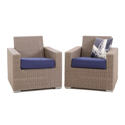 Synthetic Wicker Armchairs, Pair