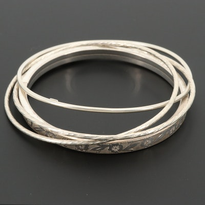 Sterling Silver Engraved Bangle Bracelet Assortment