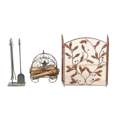 Polychrome Mesh and Foliate Metal Fireplace Screen and Toolset with Leather