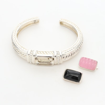 Judith Ripka Sterling Silver Cuff Bracelet with Interchangeable Stones