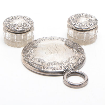 Sterling Silver and Glass Dresser Jars and Hand Mirror