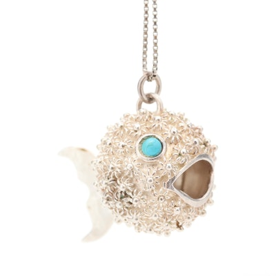 Mexican Sterling Silver and Turquoise Puffer Fish Pendant Necklace