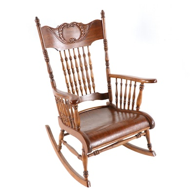 Late Victorian Press-Carved Ash Rocking Chair, Early 20th Century