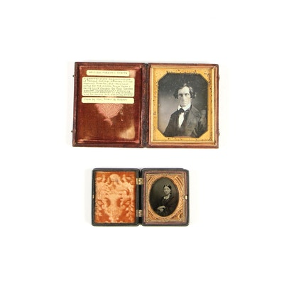 Daguerreotype and Tintype Portraits in Leather and Brass Cases, 19th Century