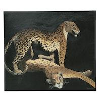 Denis Bruss Leopards Oil Painting