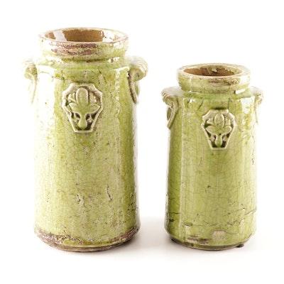 Cast Earthenware Jars with Fleur de Lis Emblem, Late 20th Century