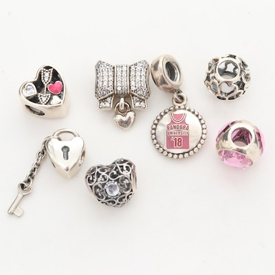 Seven Pandora Sterling Silver Cubic Zirconia and Enamel Charm Beads