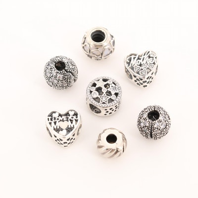 Seven Pandora Sterling Silver Cubic Zirconia, Glass and Enamel Charm Beads