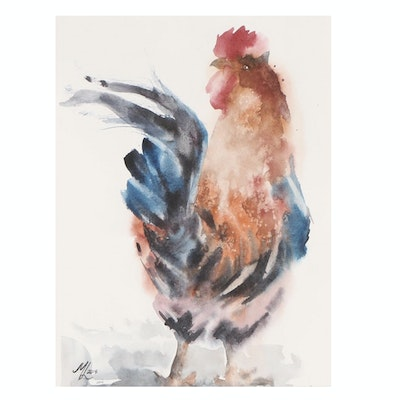 Marina Lebed Rooster Watercolor Painting