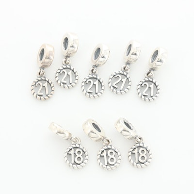 Eight Pandora Sterling Silver Number Charms