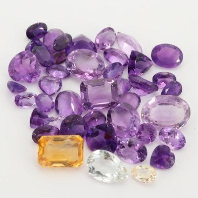 Loose 43.40 CTW Amethyst, Citrine and Quartz Gemstones