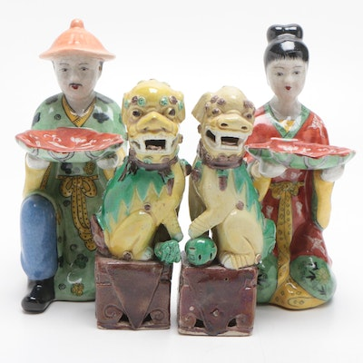 Chinese Figurines and Pair of Guardian Lions