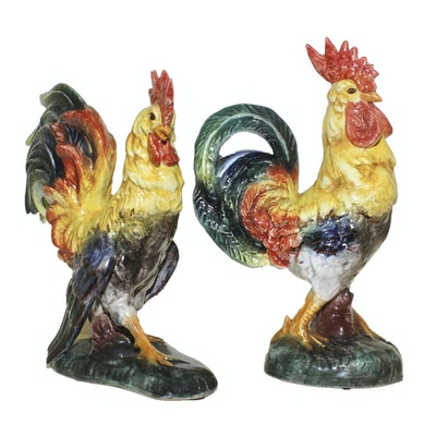 Ceramic Hand Painted Rooster Figurines