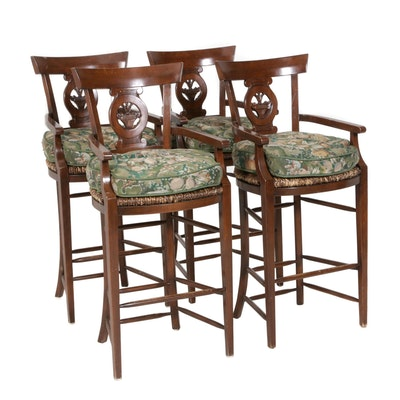 Four William Switzer Handcrafted Upholstered Bar Stools with Matching Curtains