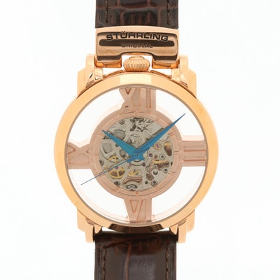 Stuhrling Gold Tone Skeleton Dial Automatic Wristwatch
