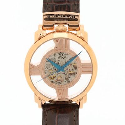 Stuhrling Gold Tone Skeleton Dial Automatic Wristwatch