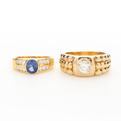 Assortment Sapphire and Cubic Zirconia Bezel Rings
