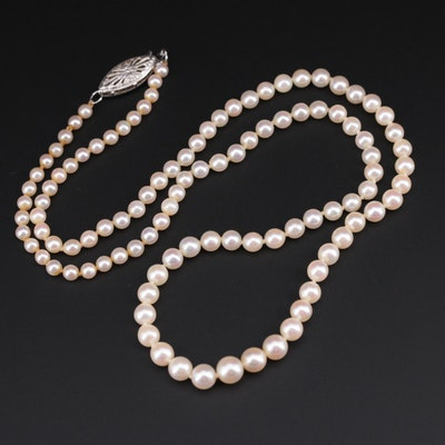 Cultured Pearl Individually Knotted Bead Necklace with 14K White Gold Clasp