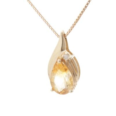 14K Yellow Gold, Citrine, and Diamond Pendant Necklace