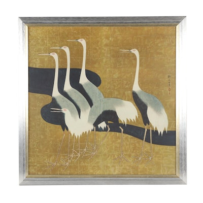 Chinese Color Lithograph of Cranes