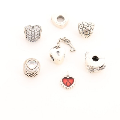 Seven Pandora Sterling Silver Cubic Zirconia and Enamel Charms