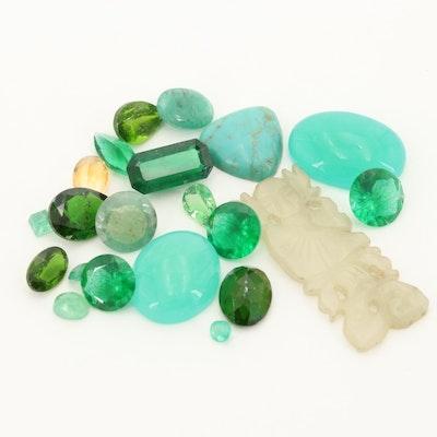 Loose 25.69 CTW Emerald, Diopside and Quartz Gemstones